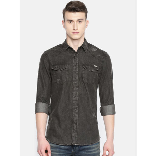 Jack & Jones Men Black Slim Fit Faded Casual Denim Shirt