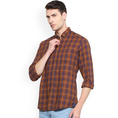 Louis Philippe Men Brown & Blue Slim Fit Checked Casual Shirt