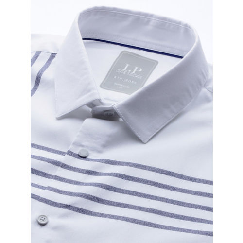 Louis Philippe Sport Men White & Blue Super Slim Fit Striped Casual Shirt