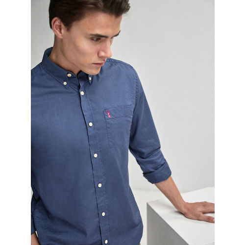next Men Blue Slim Fit Solid Casual Shirt