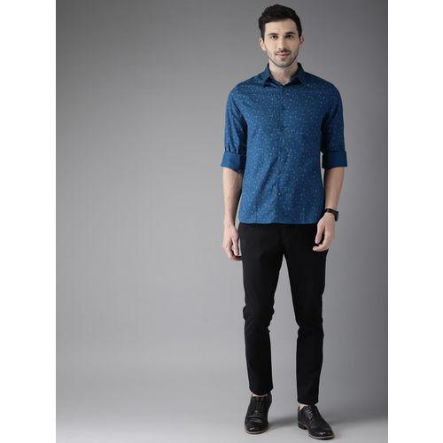 Anouk Men Teal Blue & Red Regular Fit Printed Casual Shirt
