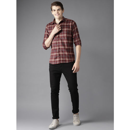 DENNISON Men Maroon & Beige Slim Fit Checked Casual Shirt