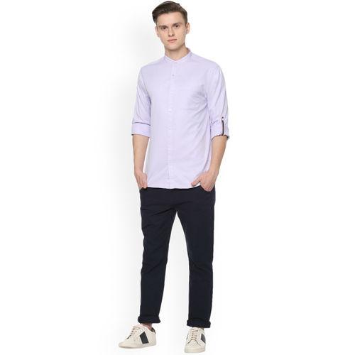 People Men Lavender Regular Fit Solid Casual Shirt
