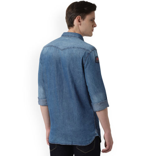 Peter England Blue Super Skinny Fit Faded Casual Shirt