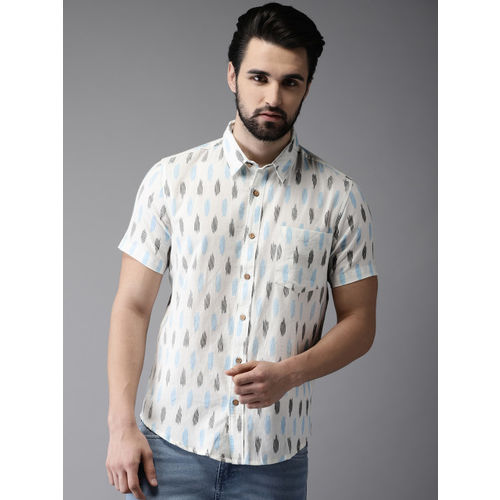 Anouk Men White & Blue Regular Fit Printed Casual Shirt