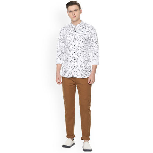 People Men White & Black Regular Fit Printed Casual Shirt