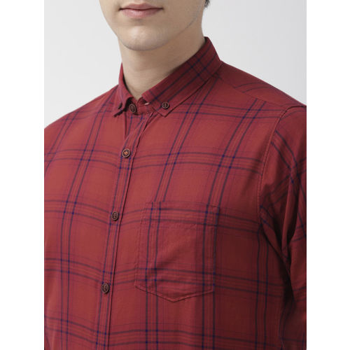 Mast & Harbour Men Rust Orange Regular Fit Checked Casual Shirt