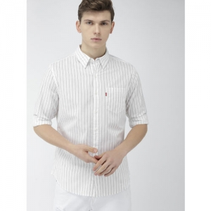 Levis White & Navy Blue Slim Fit Striped Casual Shirt