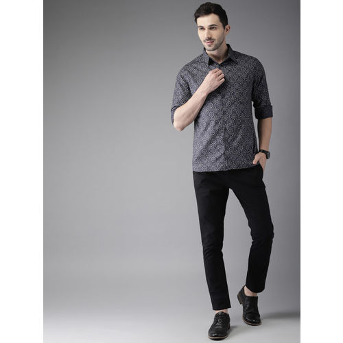 Anouk Men Black & Grey Regular Fit Printed Casual Shirt