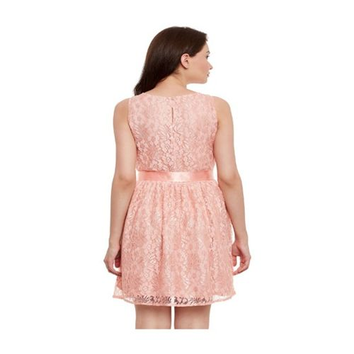 The Vanca Peach Lace Dress