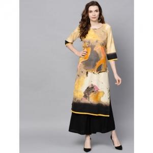 Shree Women Mustard Yellow & Black Printed Straight Kurta