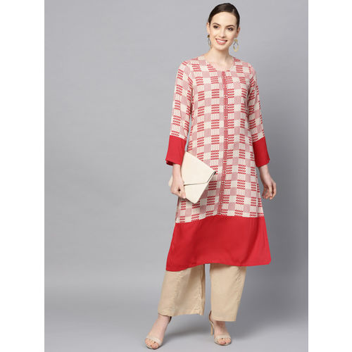 Shree Women Beige & Red Printed Straight Kurta