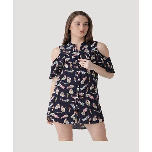 The Vanca Navy Printed Shirt Dress