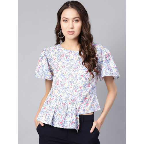 Ives Women White & Blue Printed Layered Top