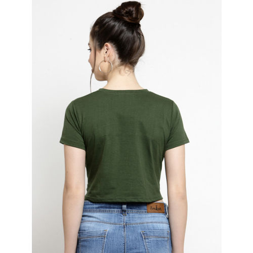 Everlush Women Olive Green Solid Crop Top