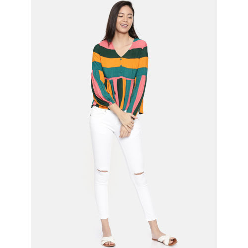 Chumbak Women Multicoloured Striped A-Line Top
