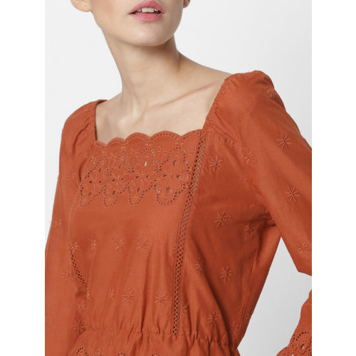 ONLY Women Rust Orange Solid Cinched Waist Top