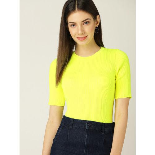 MANGO Women Fluorescent Green Striped Fitted Top