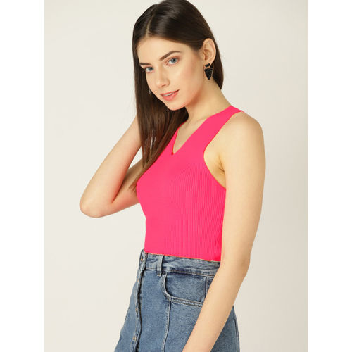 MANGO Women Pink Striped Fitted Top