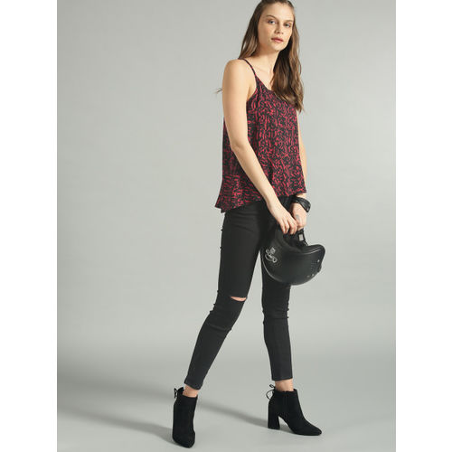 Roadster Women Black & Red Printed A-Line Top