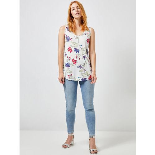 DOROTHY PERKINS Women White & Blue Printed Top