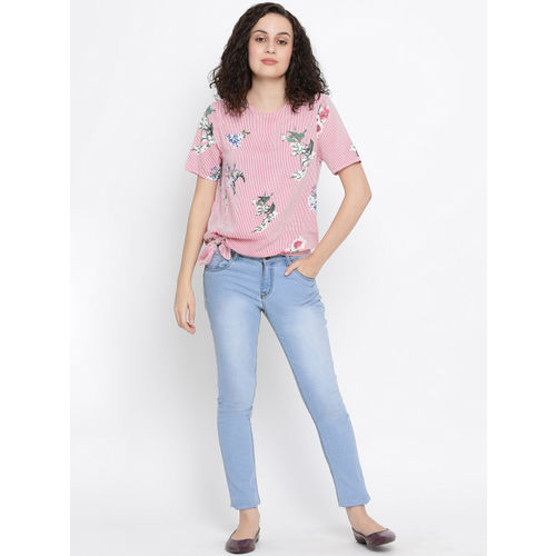 Oxolloxo Women Pink Striped Top