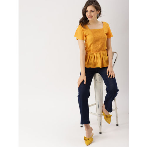 DressBerry Women Mustard Yellow Solid Cinched Waist Top