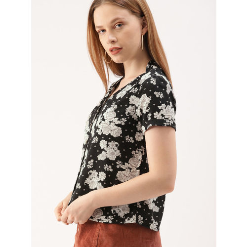 DressBerry Women Black Printed Shirt Style Top