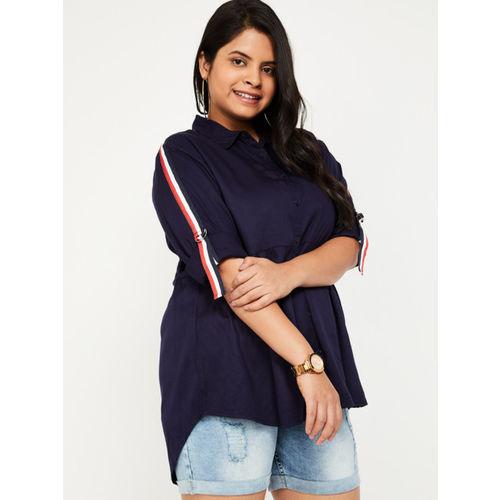 nexus Women Navy Blue Solid Shirt Style Top