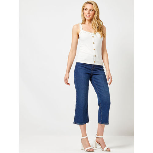 DOROTHY PERKINS Women Off-White Ribbed Fitted Top