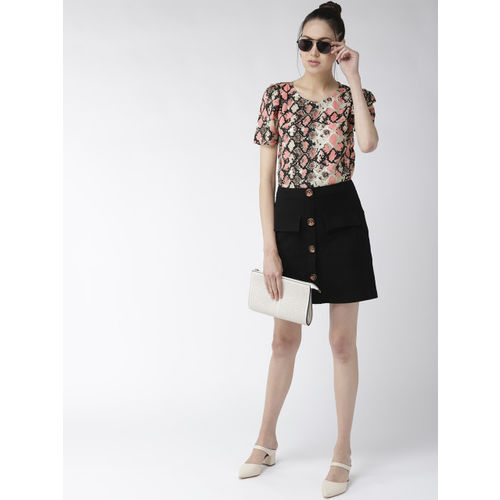 Style Quotient Women Peach-Coloured & Black Printed Top