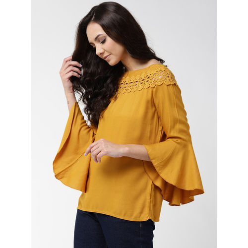 Style Quotient Women Mustard Yellow Solid Top