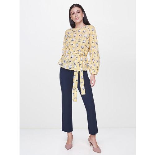 AND Women Yellow & White Printed Regular Top