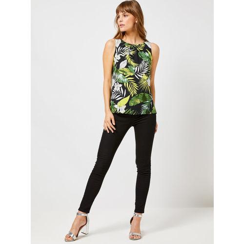 DOROTHY PERKINS Women Black & Green Printed Top