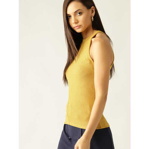 MANGO Women Mustard Yellow Ribbed Fitted Top