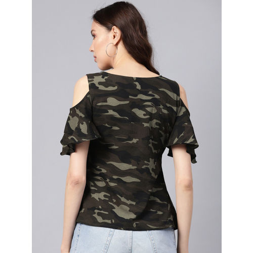 Ives Women Green & Black Camouflage Print Cold-Shoulder Top