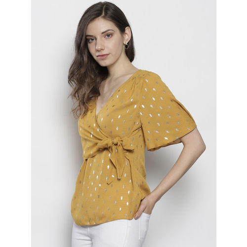 DOROTHY PERKINS Women Mustard Yellow & Golden Layered Printed Wrap Top