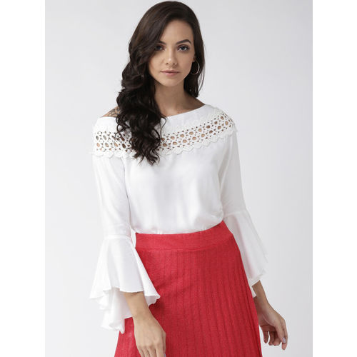 Style Quotient Women Off-White Solid Top