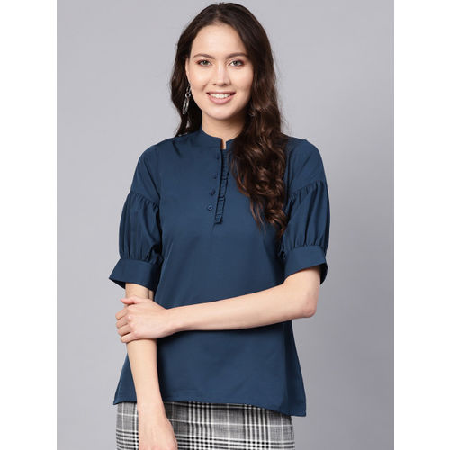 Ives Women Navy Blue Solid Shirt Style Top