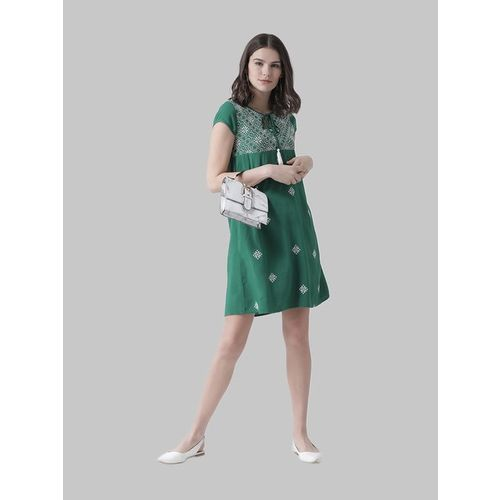 The Vanca Emerald Embroidered Above Knee Dress