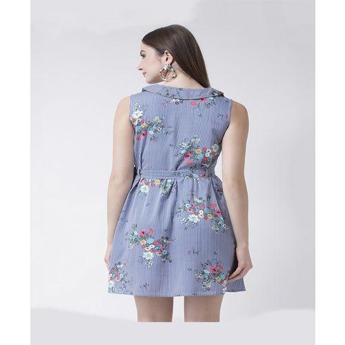 The Vanca Blue Striped Above Knee Dress