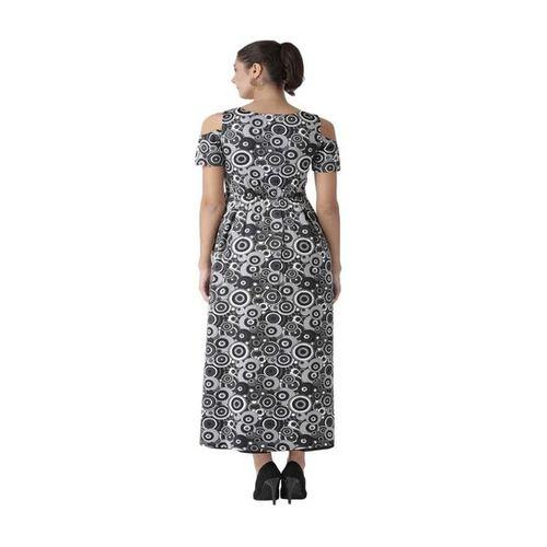 The Vanca Black & Grey Printed Maxi Dress