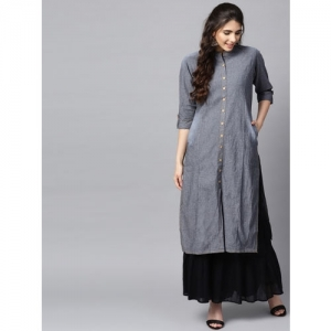 Shree Women Grey Solid Denim Straight Kurta