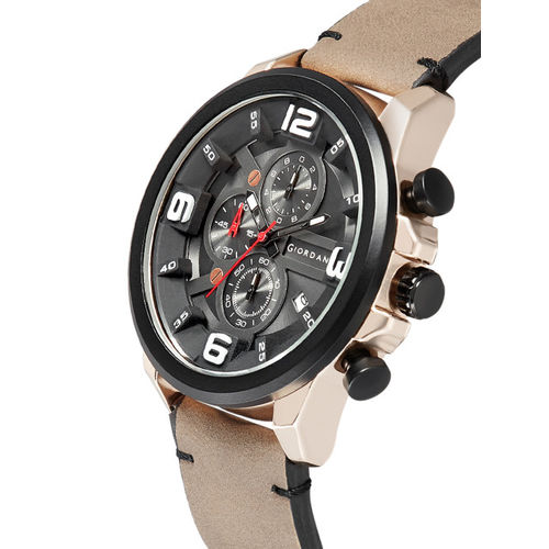GIORDANO Men Black Analogue Leather Watch C1123