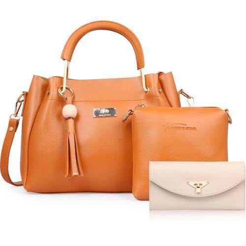 Shining Star Women Tan Hand-held Bag