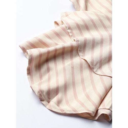 HERE&NOW Women Beige & Dusty Pink Striped A-Line Top
