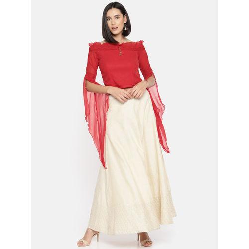 Ira Soleil Women Red Solid Bardot Top