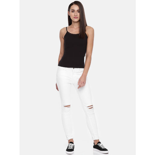 Vero Moda Women Black Solid Fitted Camisole Top