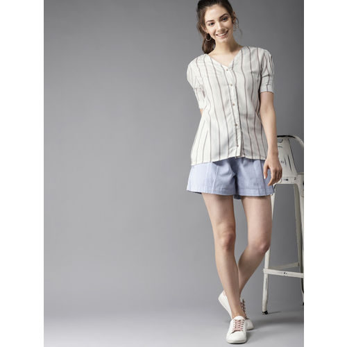 HERE&NOW Women White & Grey Striped Top