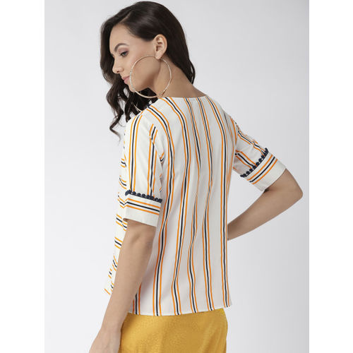 Style Quotient Women Off-White & Navy Blue Striped Top